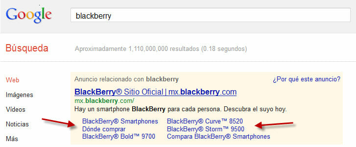 sitelinks de google adwords