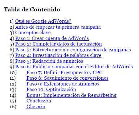 tabla de contenido libro