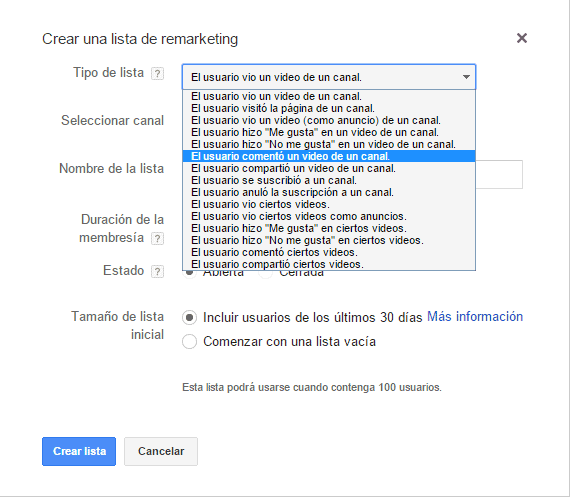 lista remarketing video